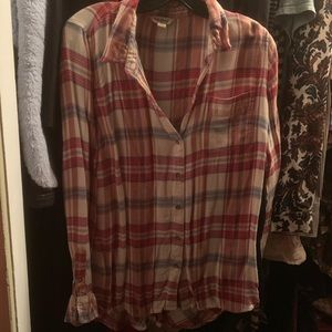 Lucky Brand plaid Button Down Shirt Blouse Top M